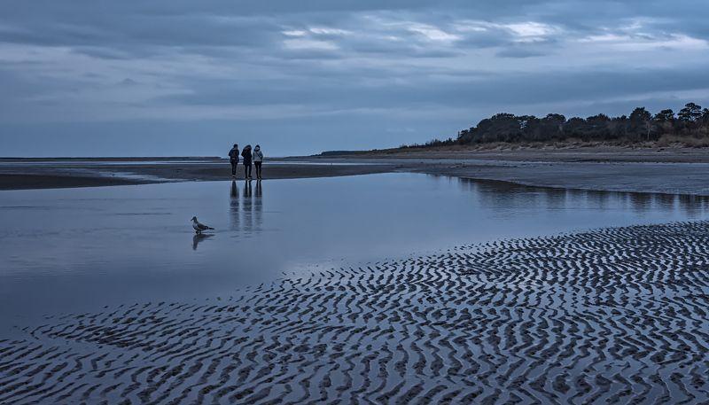 белое море берег сумерки вечер вода небо Сумеркиphoto preview