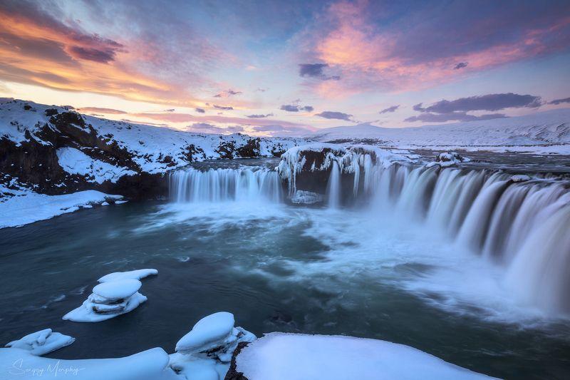 sunrise godafoss waterfall iceland Sunrise & Goðafoss waterfall. Iceland.photo preview