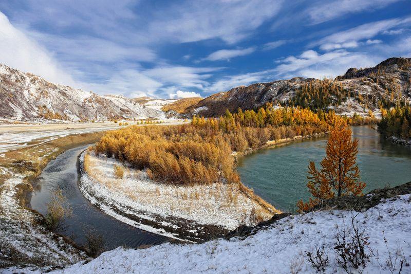 алтай, горный алтай, чуя, осень, первый снег Чуйский рожокphoto preview