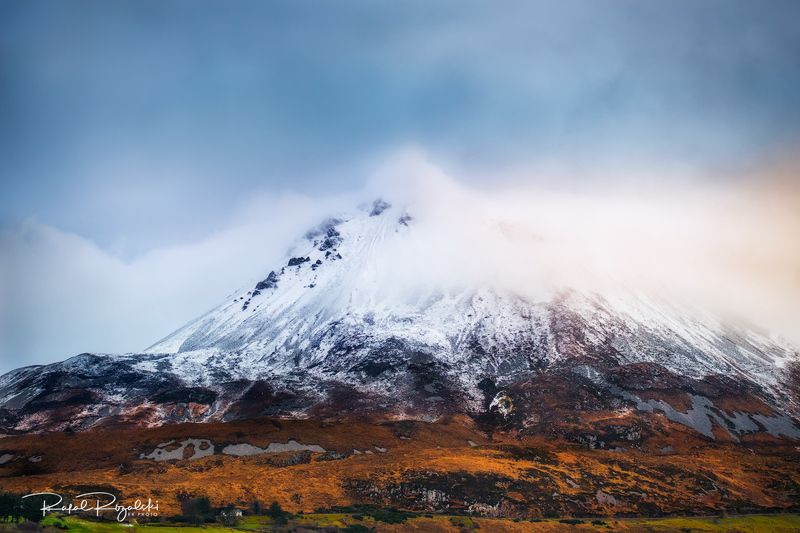 ireland, donegal, landscape, mountain, snow, winter, clouds, light,  Mount Errigal - Irelandphoto preview