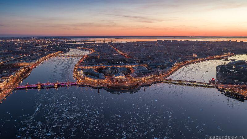 россия, петербург, санкт-петербург, город, весна, вечер, закат, река, лед, нева, аэрофотосъемка, небо, дрон И снова ледоходphoto preview