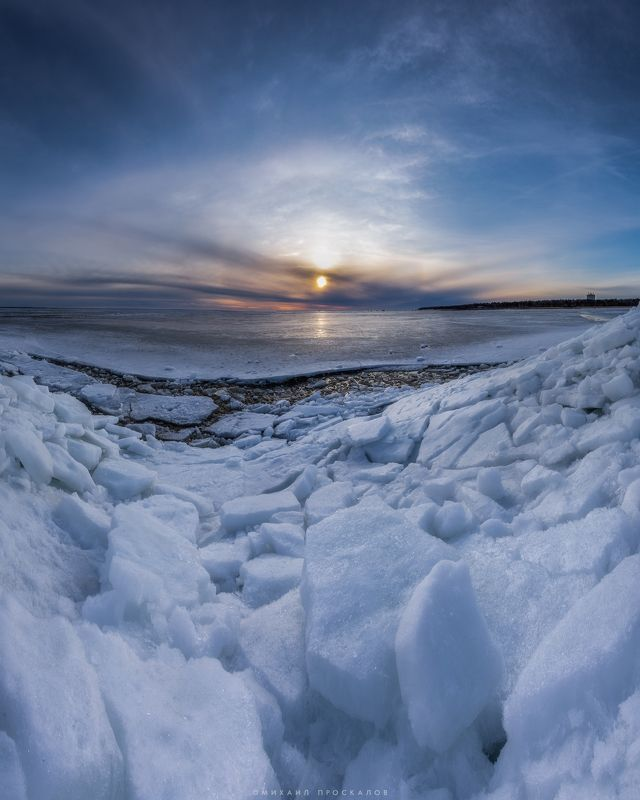 природа, закат, панорама, пейзаж Закат за ледяной стенойphoto preview