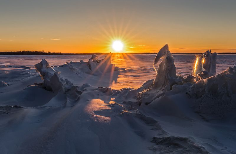 sun, ice, lake, rays, snow, sunset, солнце, лёд, озеро, лучи, снег, закат Ice creationsphoto preview