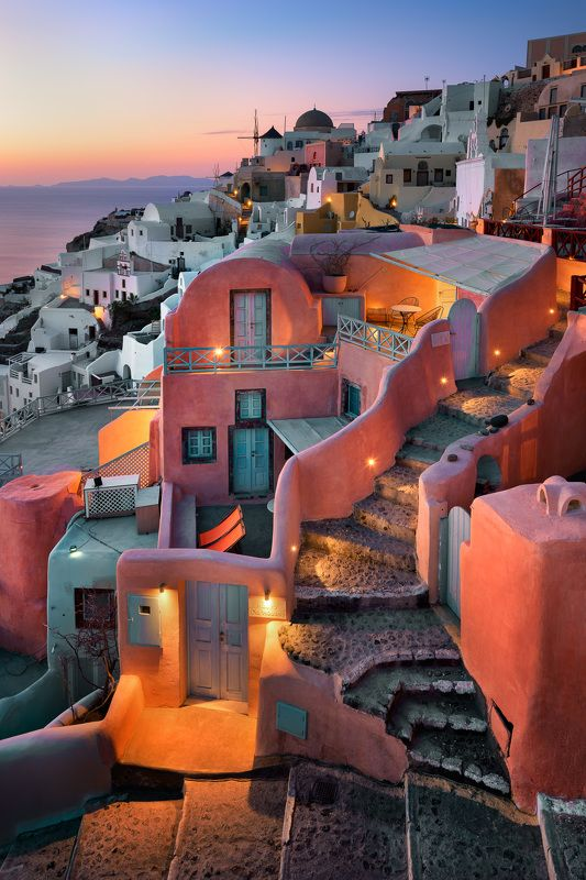 aegean, architecture, bell, caldera, christian, church, city, cityscape, cross, cupola, cyclades, dome, dusk, europe, evening, greece, greek, history, house, iconic, illuminated, island, landmark, landscape, lights, mediterranean, mill, night, oia, orange Oia Village in the Evening, Santorini, Greecephoto preview