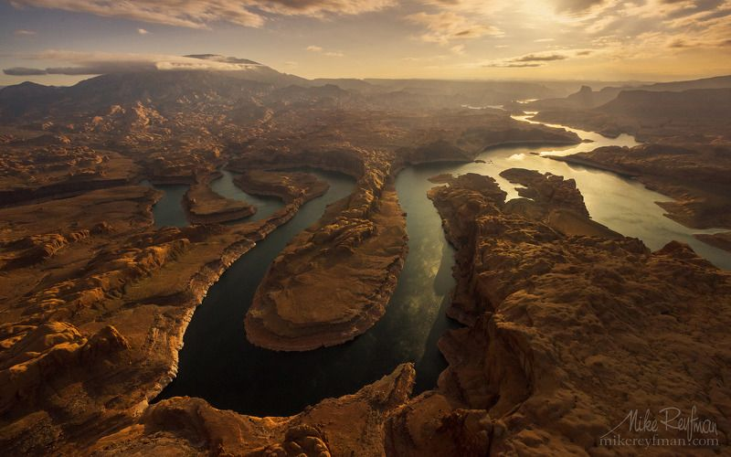 confluence of san juan & colorado rivers, glen canyon nra, lake powell, utah, arizona, usa, aerial Закат на Планете Земляphoto preview