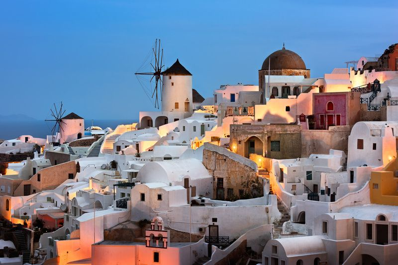 aegean, architecture, beautiful, blue, building, caldera, church, city, cityscape, cyclades, dawn, dome, europe, famous, greece, greek, hellas, holiday, hotel, house, iconic, illuminated, island, landmark, landscape, lights, mediterranean, mill, morning,  Windmills of Oia Village at Dawn, Santorini, Greecephoto preview