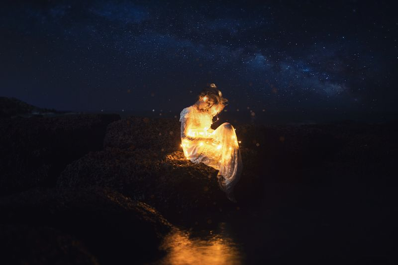 .light under stars.photo preview