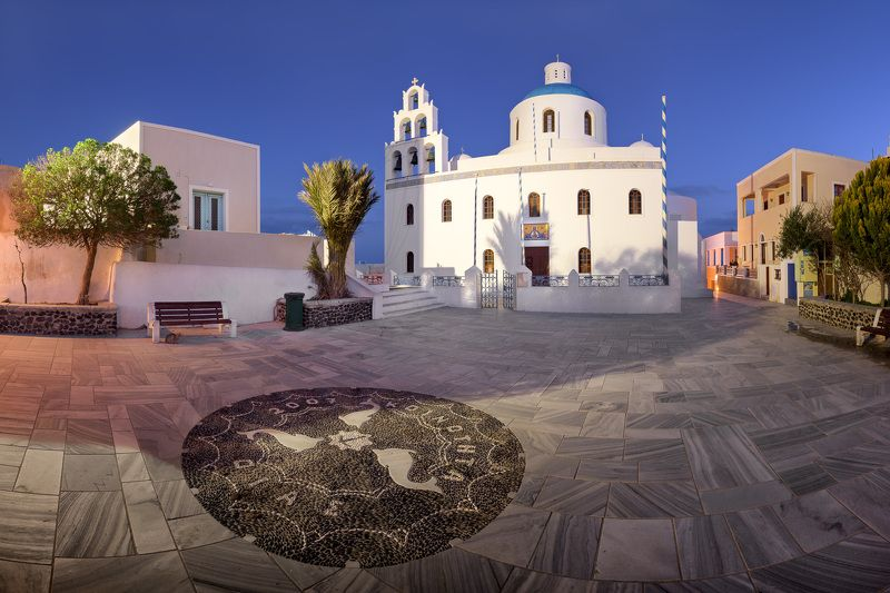 aegean, architecture, belfry, bell, belltower, blue, building, christian, church, city, cityscape, cupola, cyclades, dawn, dome, europe, european, floor, greece, greek, illuminated, island, landmark, landscape, lights, mediterranean, morning, mosaic, nigh Panorama of Panagia Platsani Orthodox Church in the Morning, Oia, Santorini, Greecephoto preview