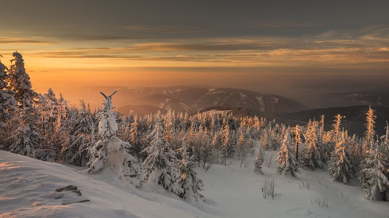 mountain, sunset, winter, snow, cold, Beskidsphoto preview