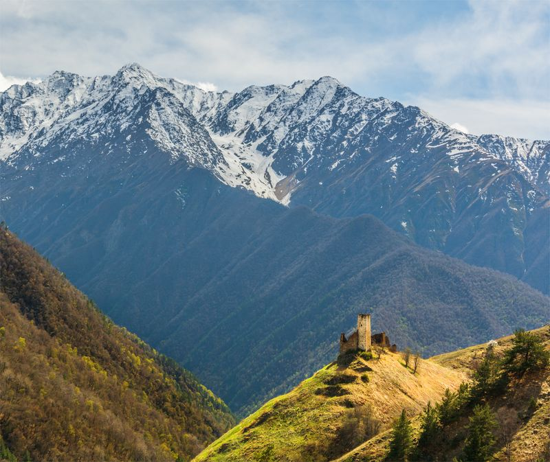 природа, пейзаж, кавказ, горы, весна, вечер, панорама, закат, солнце, небо, облака, свет *photo preview