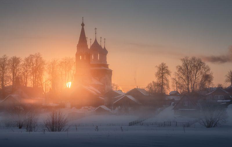 дунилово, теза, ивановская область, мороз, туман, рассвет Деревенское утроphoto preview
