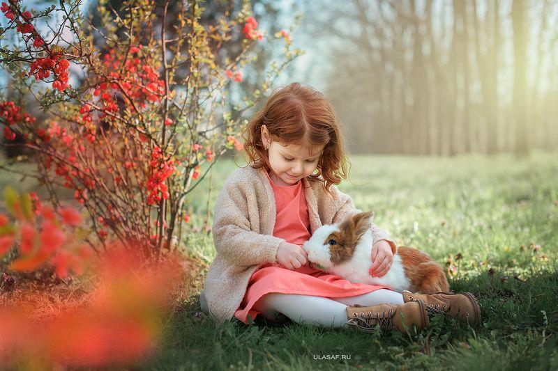 girl, portrait, девочка, портрет, весна, spring, red, рыжая, рыжик, кролик, rabbit Маша и Тильдаphoto preview