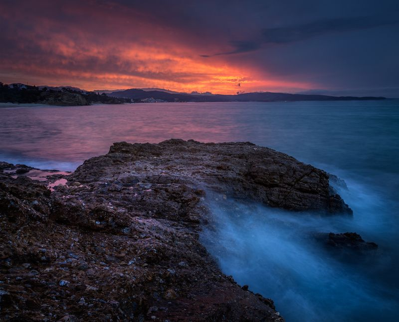 landscape nature seascape sunrise rocks castal coast beach sea seaside long exposure scenery tasos Когда ночь уходит утромphoto preview