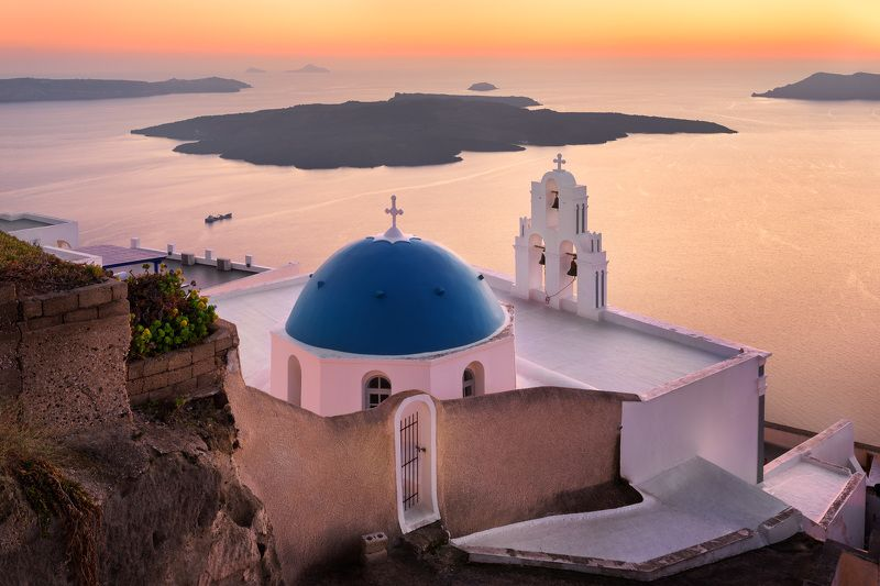 aegean, agios, architecture, belfry, bell, blue, building, caldera, chapel, church, city, cityscape, cross, cyclades, dome, dusk, europe, european, evening, fira, greece, greek, history, iconic, island, landmark, landscape, orthodox, religion, resort, sai Saint Theodore Church in the Evening, Fira, Santorini, Greecephoto preview