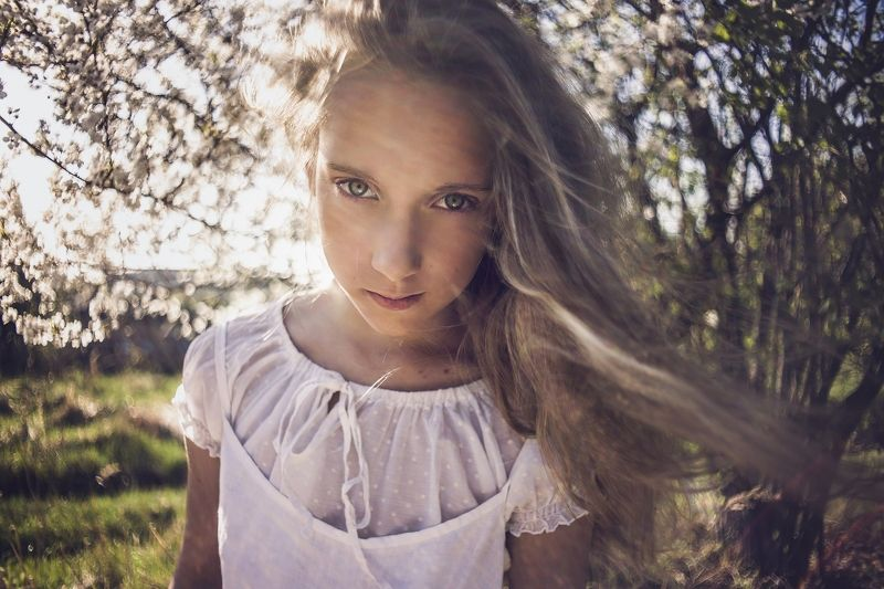 girl, portrailt, children, flowers, spring, light, bokeh, pentacon Spring dreamsphoto preview