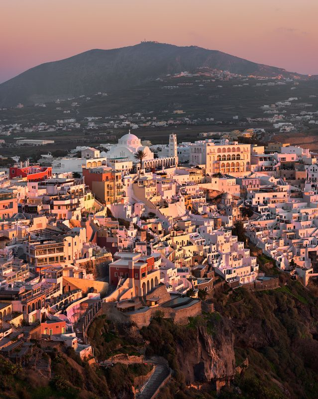 aegean, aerial, architecture, building, capital, cathedral, church, city, cityscape, cliff, coast, culture, cyclades, dome, europe, european, evening, fira, greece, greek, hill, history, house, iconic, island, landmark, landscape, lights, mediterranean, m Aerial View of Fira in the Evening, Santorini, Greecephoto preview