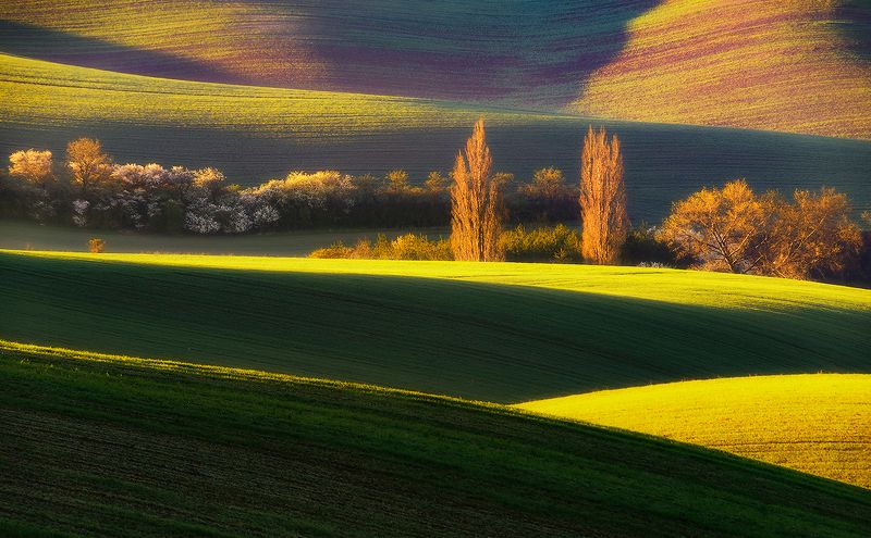 spring moravia czech repulic landscape green red sunrise Springphoto preview