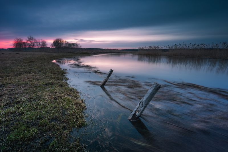 river water clouds long exposure sunset colors magenta sky The spring has come...photo preview