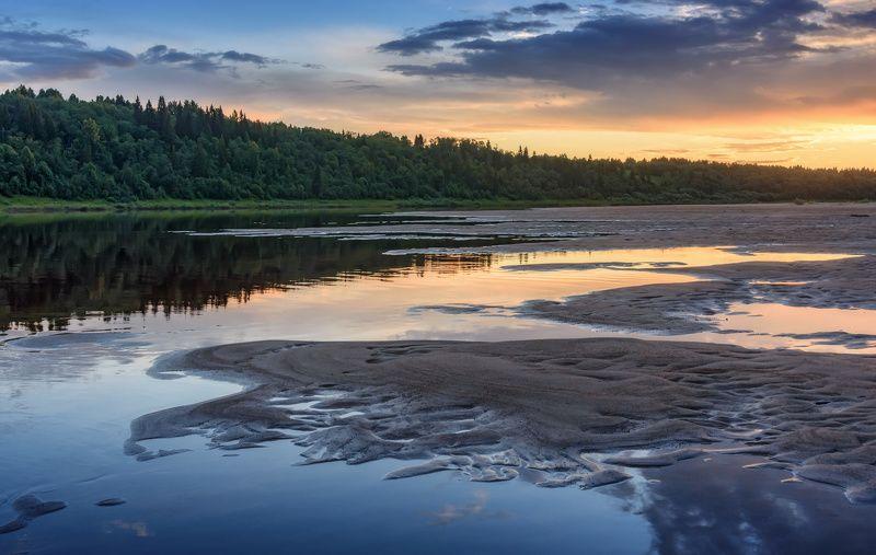 река вага архангельск закат лето июль лес песок отмели Закат на реке Вагаphoto preview
