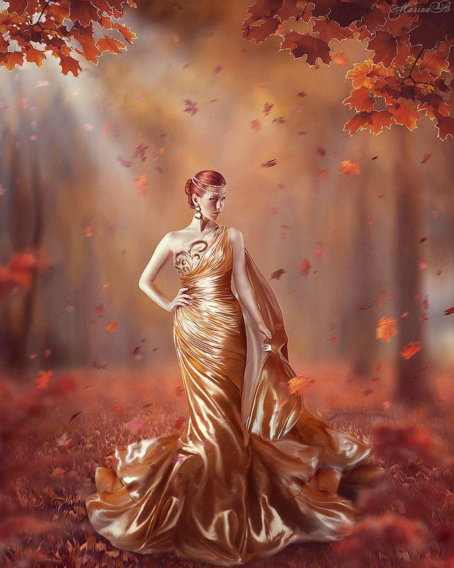 золотая осень, осень, золотое платье, золото, оранжевый, волшебство, ветки, листья, клен Fairy art / Golden autumnphoto preview
