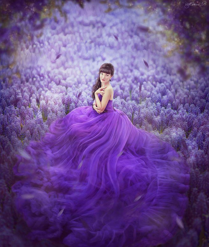 волшебство, фиолетовый, фиолетовое платье, фиолетовые цветы Fairy art / Purple tendernessphoto preview