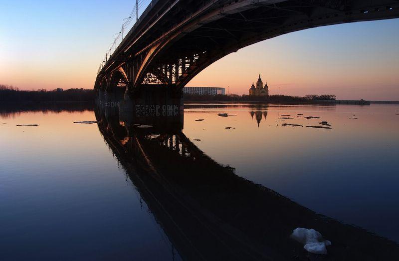 закат, ледоход, нижний новгород Нижегородские закатыphoto preview