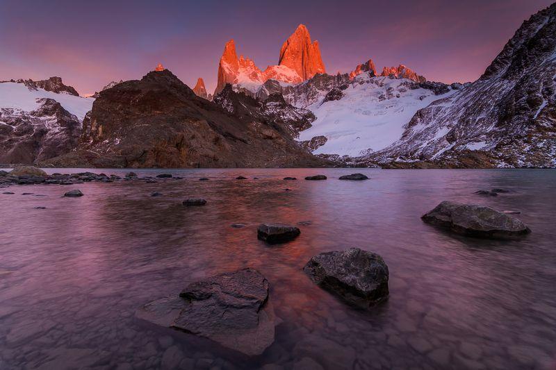 патагония, горы, рассвет, аргентина Озеро Трехphoto preview