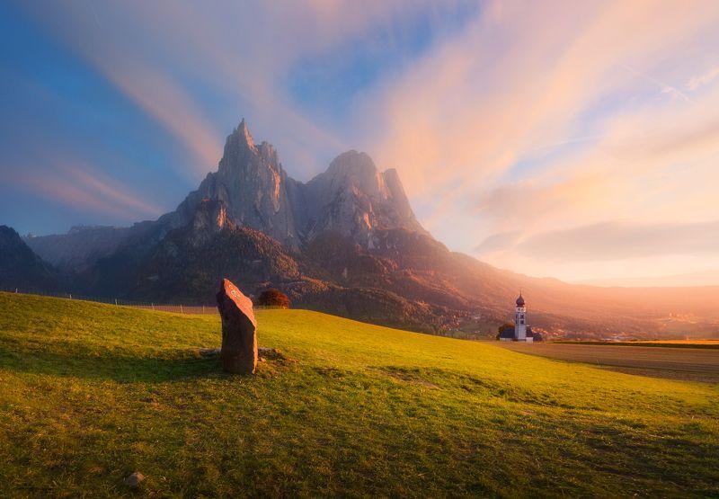 италия, доломиты, горы, вечер, небо,облака Шлернphoto preview