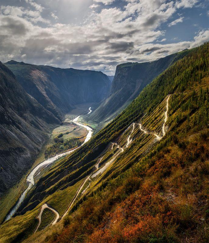 природа, пейзаж, алтай, горы, осень, река, чулышман, панорама, сибирь, Зигзагиphoto preview