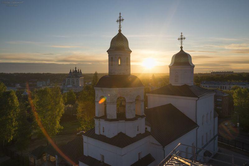 смоленск, успенский собор, смоленщина, вознесенский монастырь, рассвет, восход, май, весна, городской пейзаж \