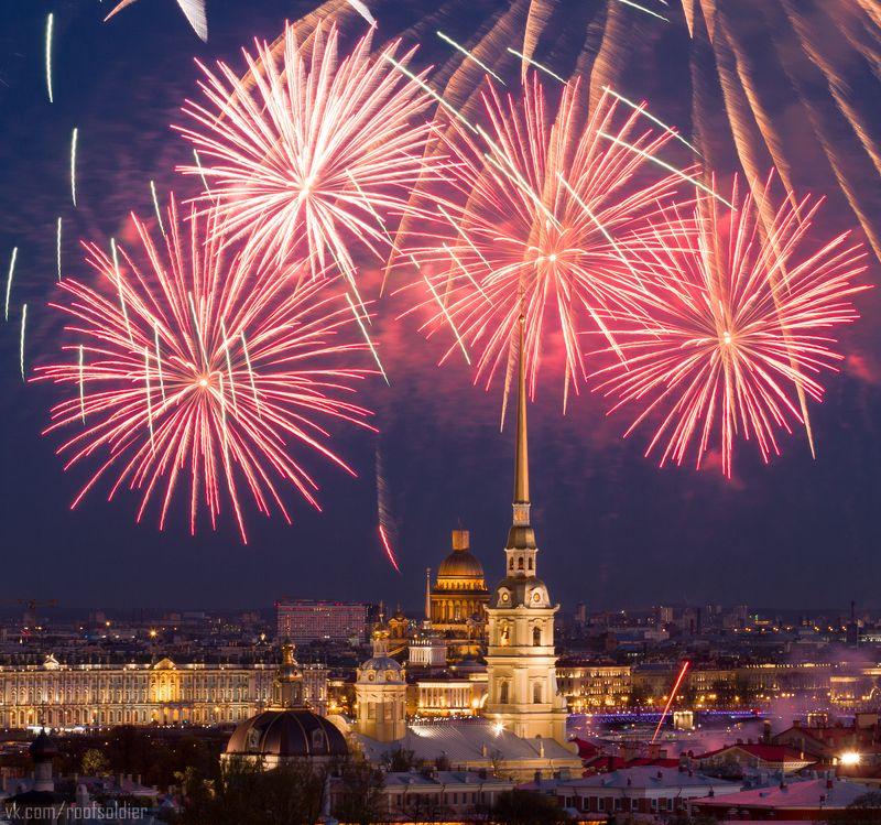 Салют, крыша, Петропавловская крепость, храм, Санкт-Петербург, День Победы День Победыphoto preview