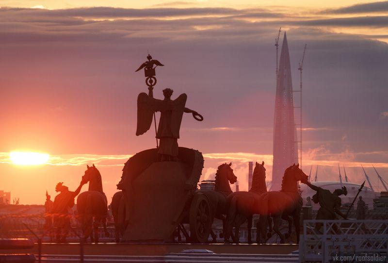 Санкт-Петербург, крыша, Питер, скульптура, Лахта, архитектура, закат Эволюция или деградация?photo preview