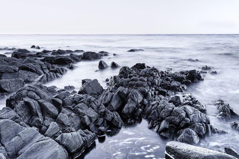 rocks, stones, landscape, cloudy, norway, sea, beach, light, high key Rocks - high keyphoto preview