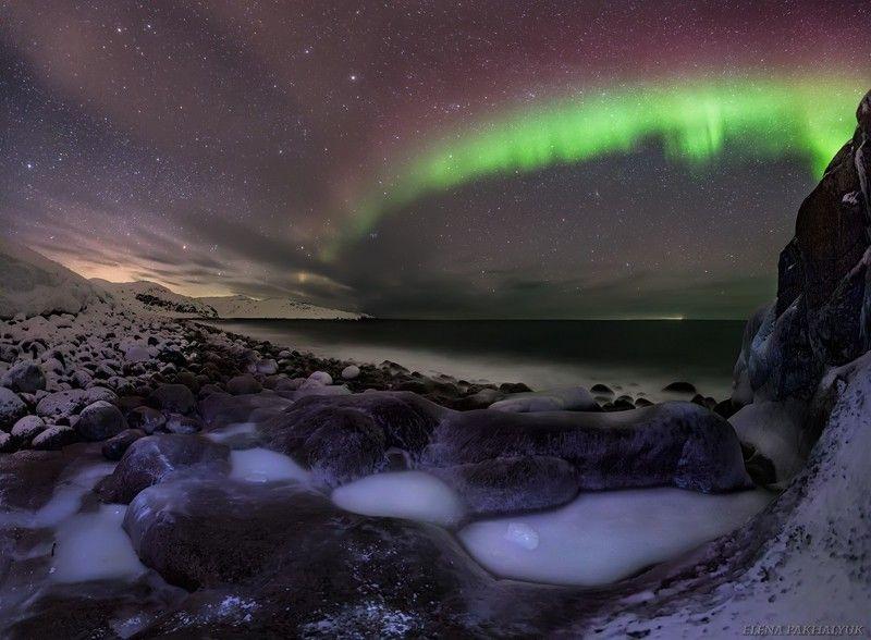 северный ледовитый океан,баренцево море, териберка,северное сияние, зима,лед, снег,побережье,ночь,звезды,сияние,северное,океан,кольский, кольский полуостров, море,горы,облака,длинная выдержка,пейзаж,природа,россия,панорама Сокровища северной ночиphoto preview