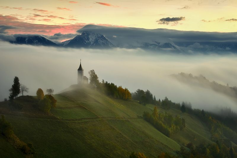 St. Primoz, church, Jamnik, dusk, alps, background, Slovenia St. Primozphoto preview