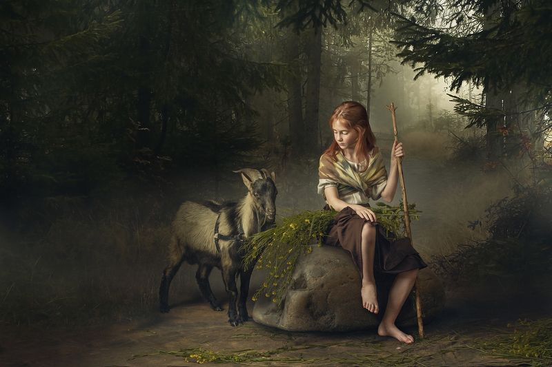 Girl with goat&flowersphoto preview