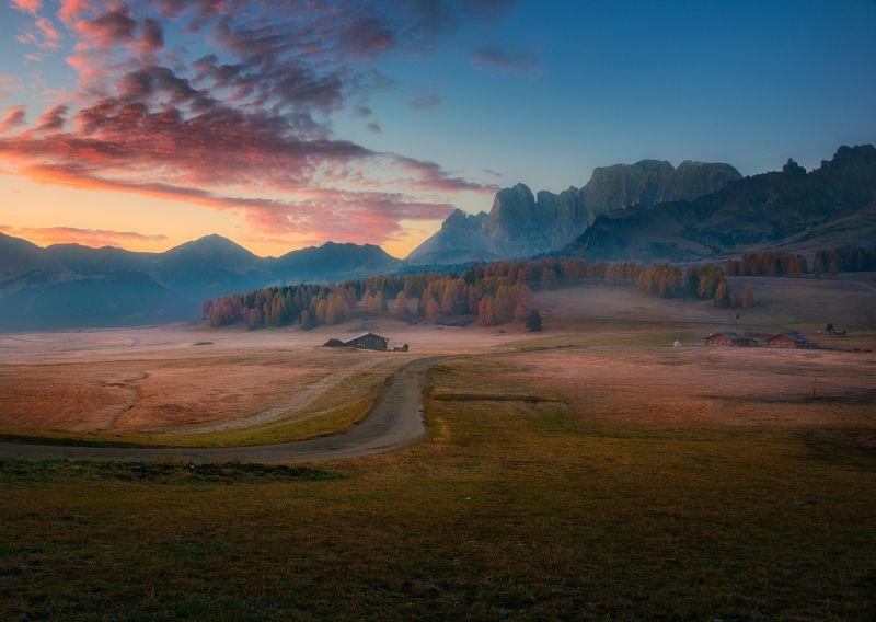 утро, рассвет, горы, облака, туман, Альпы, осень, Перед восходом солнцаphoto preview