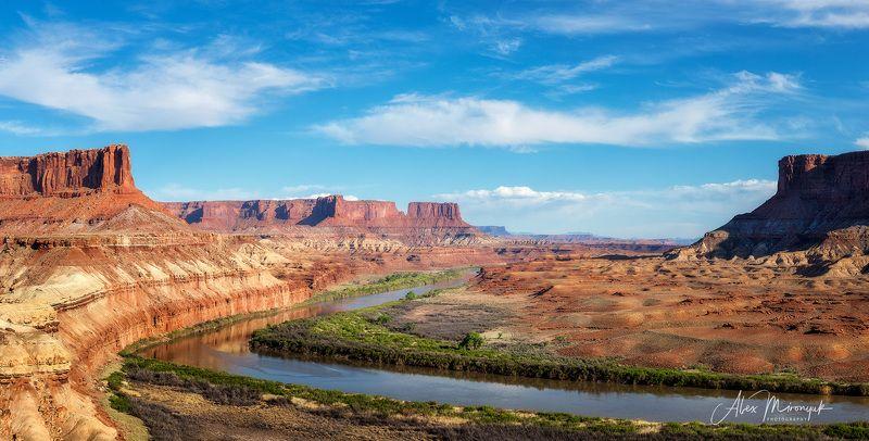 сшаб юта, каньонлендс, панорама, закат, река, скалы, небо, горы, свет, путешествие, фото-тур Закат на реке Грин Риверphoto preview
