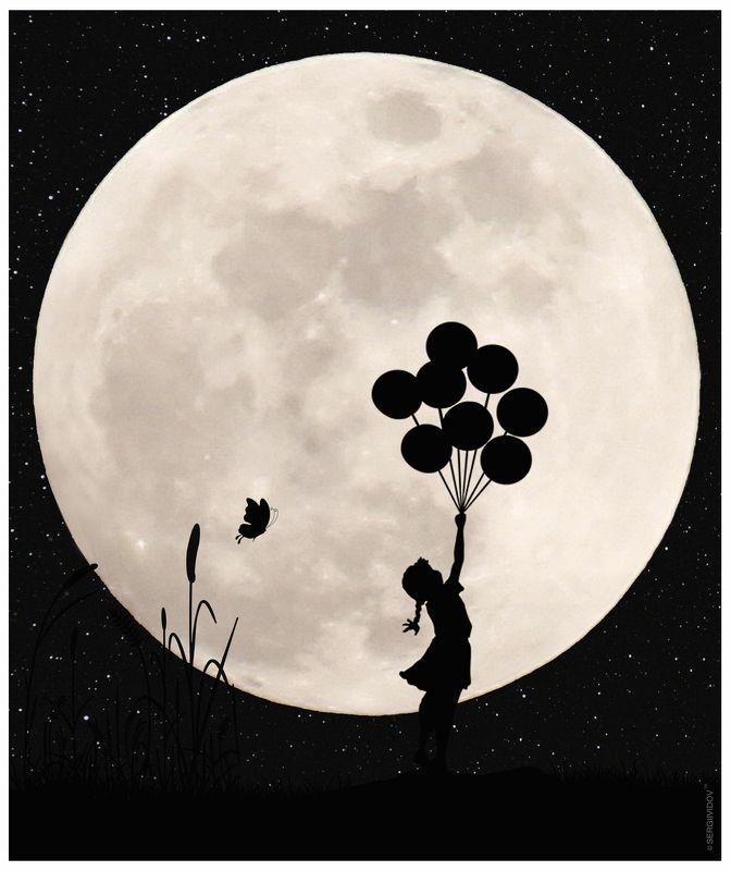 луна, воздушные шары, небо, ночь, ребенок ****photo preview