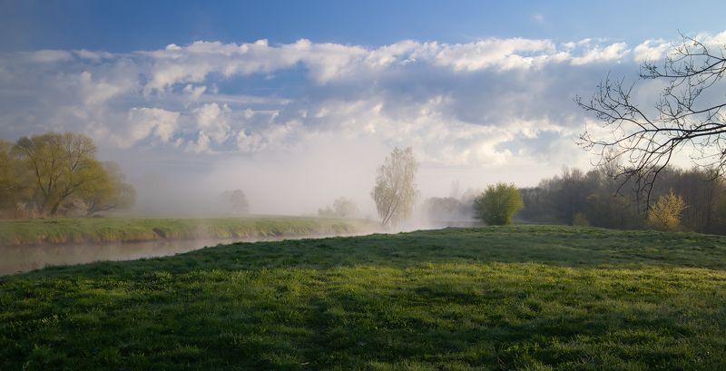 весна, утро, дымка, река, Утро тумановphoto preview