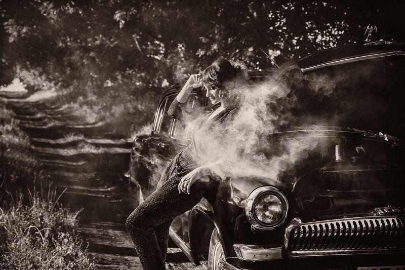 ретро,авто, дым, модель, сепия, черно-белое, поломка Поломка photo preview