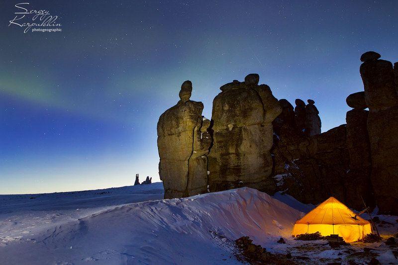 якутия, улахан-сис, северное сияние, зима Базаphoto preview