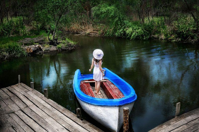 природа, река, лодка, модель, лето photo preview
