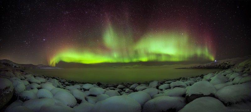 северный ледовитый океан,баренцево море, териберка,северное сияние, зима,лед, снег,побережье,ночь,звезды,сияние,северное,океан,кольский, кольский полуостров, море,горы,облака,пейзаж,природа,россия,панорама,длинная выдержка Северный Фениксphoto preview