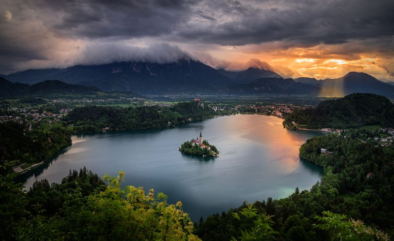 landscape, nature, lake, sunrise, island, long exposure, scenery, sky, mountain, bled, рассвет, утро, озеро Morning inspirationphoto preview