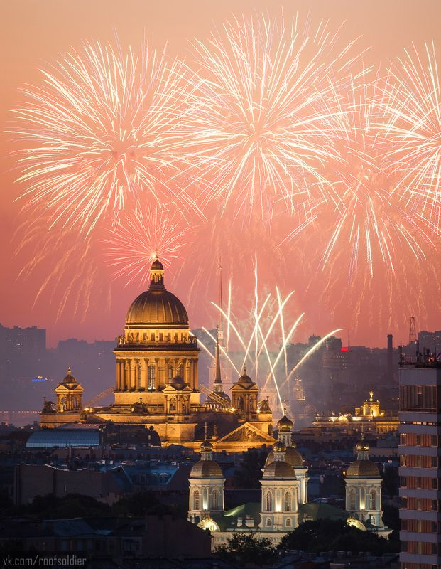 Салют, Санкт-Петербург, город, крыша, закат, храм Санкт-Петербургу - 315photo preview