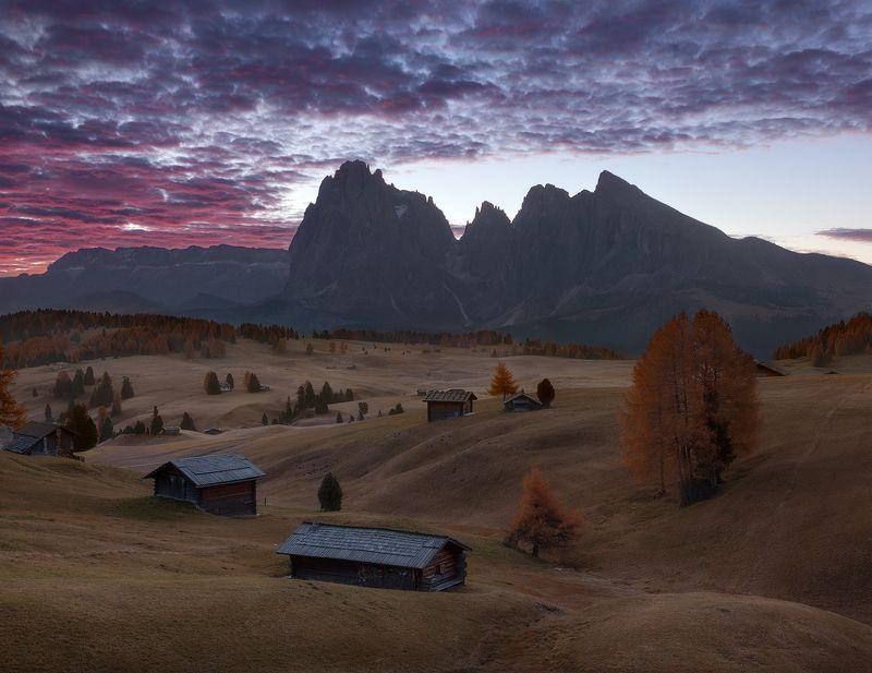 italy, alpe di siusi, seiser alm, sunrise, south tyrol, dolomites, südtirol, trentino-alto adige Alpe di Siusiphoto preview