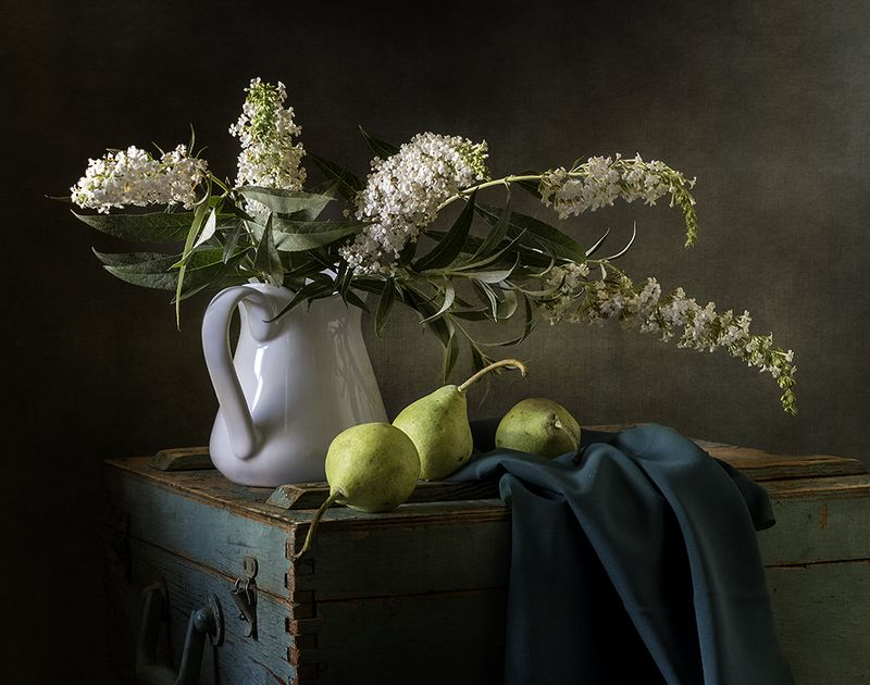 натюрморт, цветы, груши, фрукты, still life Летнийphoto preview