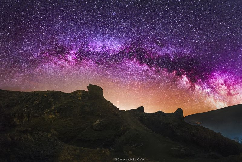 armenia, milky way, night, astro, astrophotography Армения крепость Бжниphoto preview