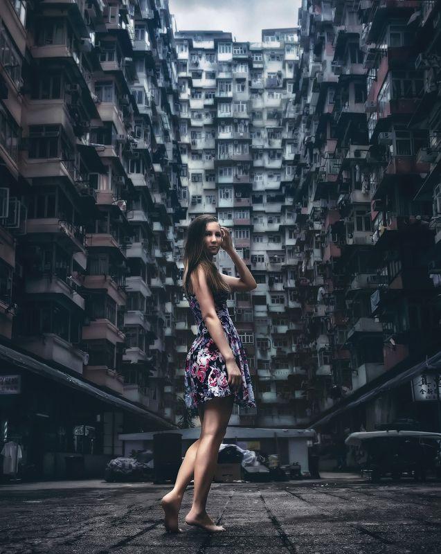 гонконг, город, девушка Берега кисельныеphoto preview